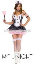 MOONIGHT Sexy Kimono Costume French Maid Partywear Ruffle Lace Cosplay Servant Fancy Dress Garter Outfit(China)