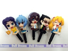 3.5cm 5PCS/LOT pvc Japanese anime figure EVA Q version Neon Genesis Evangelion Ayanami Rei Dust plug(China)