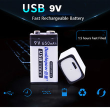9V USB Rechargeable battery 6f22 9v Smart battery 650mAh Wireless Microphone KTV Instrument use(China)