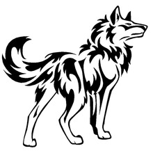 16*15.7CM Wolf With Flame Cool Car Sticker Fansy Vinyl Reflective Car Styling Decals Black/Silver S1-2303