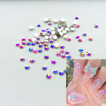 new arrive SS4 Crystal ab Nail Rhinestones,1440 pcs/bag Flat Back Non Hotfix Glitter Nail Stones,DIY 3d Nail Phones Decorations(China)