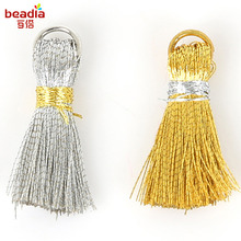 Earring Tassel DIY Band With Polyester Thread Tassel 20mm+5mm Lap 20/bag Jewelry Production With Key Ring Pendant(China)