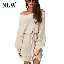 Buy NLW Beige Sexy Shoulder Knitted Dress Women Loose Casual Autumn Winter Long Sleeve High Waist Gray Sweater Dresses Vestidos for $18.99 in AliExpress store