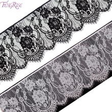 FENGRISE 3 Yards Eyelash Lace Trim Black White Rose Flower Lace Fabric Handmade DIY Sewing Applique Supplies Dress Making Decor
