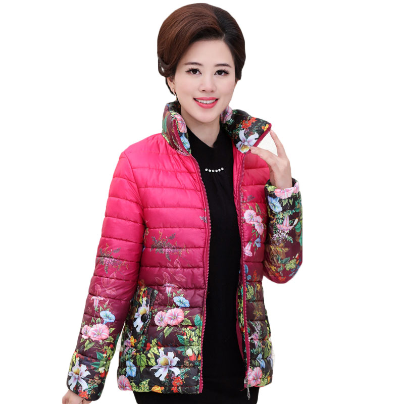 2017 Mid Age Mother Padded Leisure Coat Spring Print Winter Jacket Women Stand Collar Ukraine Large Size manteau CoatsОдежда и ак�е��уары<br><br><br>Aliexpress