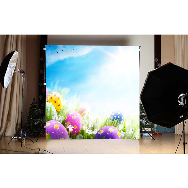 1.5X1.5M green grass and multi-colored easter eggs and blue sky printed photography backdrops for spring theme photo GE-117<br><br>Aliexpress