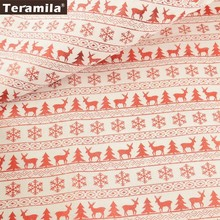 Teramila Linen Fabric 50cmx150cm/piece Printed Shining Red Christmas Series DIY for Hat Bag Bell Doll Stocking Decoration(China)