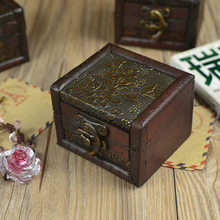 Vintage Jewelry Organizer Storage Case Mini Wood Flower Pattern  Container Handmade Metal Lock Wooden Small Boxes Chirstmas gift
