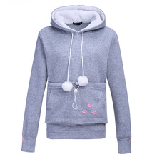 Dog Pet Hoodies Tops Cat Lovers Hoodies With Cuddle Pouch For Casual Kangaroo Pullovers With Ears Sweatshirt XL Drop Shipping(China)