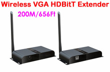 1 set/Lot, 656Ft /200M, Wireless HDbitT VGA over IP Extender Converter with Audio Tx & Rx,Free shipping