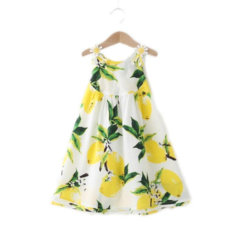 Girls summer dresses 2017 new arrival baby girl dress lemon printed girls princess dress sleeveless toddler girl sundress 2-7T<br><br>Aliexpress
