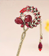 2016 new style Special Ethnic Hair stick Bob Gift Natural stone butterfly Handmade vintage Women jewelry Chinese Style gift(China)