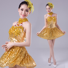 Gold women's  Singer Performance dress female DS costume jazz dance clothes modern dancing dress costumes nightclub bar dress