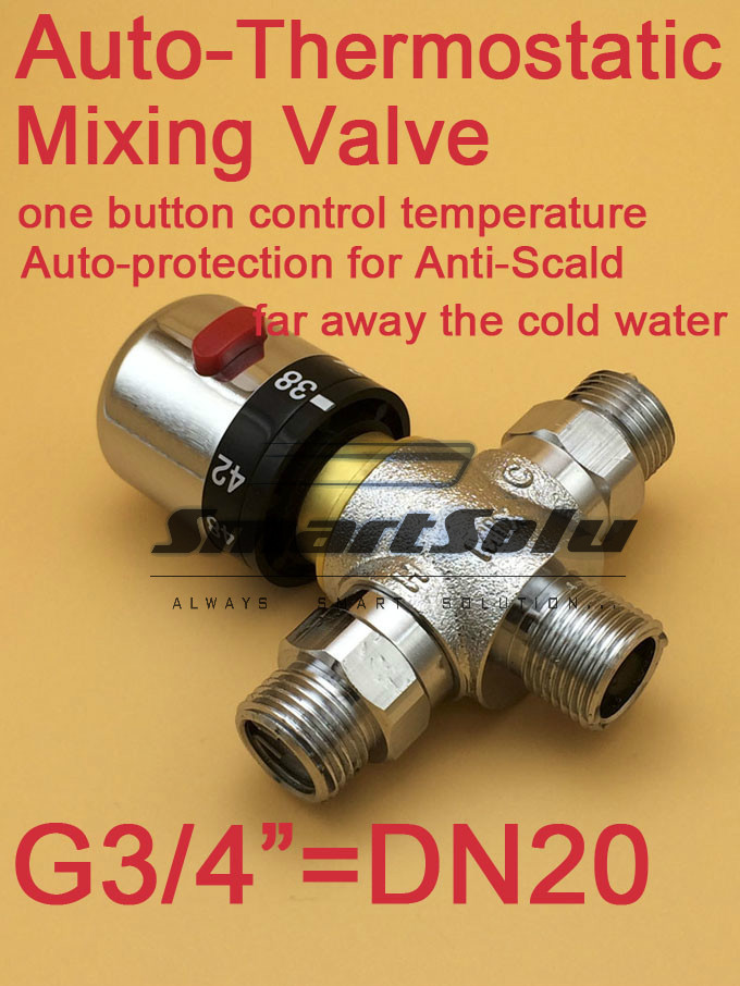 Free Shipping G3/4(DN20)Thermostatic valve/ thermostatic mixing valve/Deck mounted Solar shower brass thermostatic valve<br>