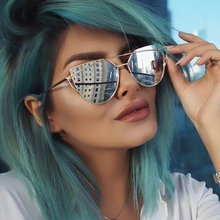 Hot Sale Mirror Flat Lense Women Cat Eye Sunglasses Classic Brand Designer Twin-Beams Rose Gold Frame Sun Glasses for Women