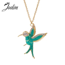JOOLIM Jewelry Wholesale/  Cute Oil Plated Green Bird Pendant Nekclace Sweater Necklace Fashion Jewelry
