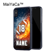 MaiYaCa PERSONALIZED NUMBER NAME Football Rubber Case For iPhone X Soft TPU Back Cover For iPhone X Pattern Case Fundas(China)