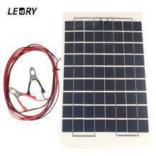 LEORY 12V 10W Solar Panel PolyCrystalline Cells DIY Solar Module Epoxy Resin With Block Diode 2 Alligator Clips 4m Cable