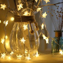 Jiaderui 5M 40Led LED Christmas Stars String Fairy Lights Garland Lamp Christmas Wedding Party Room Garden Decorate EU US Plug(China)