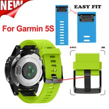 Soft Silicone 20mm Width Garmin Fenix 5s Outdoor Sport Silicone Band Easy Fit Watchband, Silicone Strap for Garmin Fenix 5s(China)