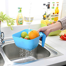 Colorful Home Furnishing Square Draining Basket Fruits And Vegetables Basket Tape Handle Plastic Basket(China)