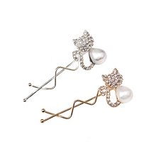M MISM Cat Shaped Bead Pearl Hairpins Women Hair Jewelry Hair Pins Headwear Girl Hair Accessories Rhinestone Hair Clip Barrettes