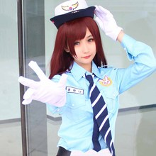 Hot Game OW D.VA Cosplay Costume Hana Song Halloween Carnival Police Officer Uniforms Full Set With Cape(China)