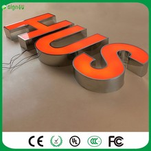 New Arrival! Outdoor mirror polished stainless steel sheet return acrylic face LED channel letter signs