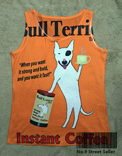 Track Ship+Vintage Printed Retro Cool Vest Tanks Tank Tops Camis Funny Pit Bull Terrier Dog Hot Brand Cup of Coffee 0234