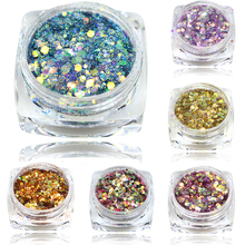 New Arrival 1Bottle 3g Mix Color Nail Art Acrylic USA Glitter Powder Dust , 3D Beauty Polish Tips SAT27-40(China)