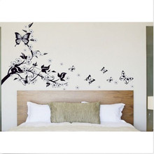 Fashion Romantic Butterfly Tree Flower Quote Wall Stickers Art Mural Decal For Kids Room Home Accessories