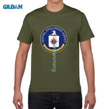GILDAN DIY t shirts Summer Mens CIA Central Intelligence Agency Simple T Shirt USA Navy Black Cotton O Neck Shirt Tops(China)