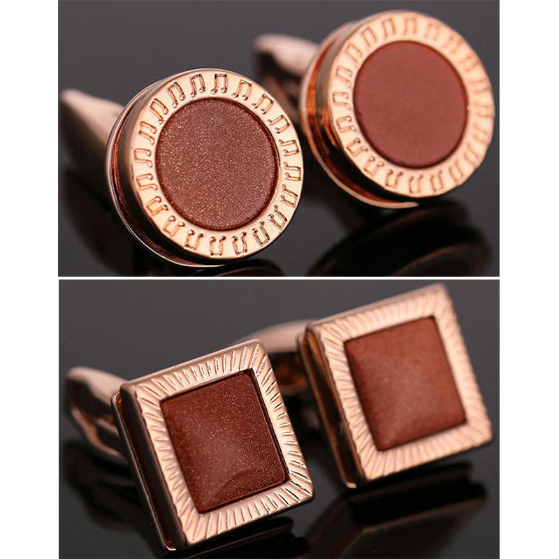2017 Rose Gold Round Cufflinks Top Quality Onyx Cuff link French Shirt Mens Cuffs Red Sand Crystal Square Cufflink Gemelos(China)