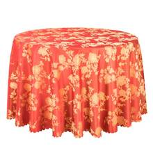 1PCS Luxury Floral Tablecloth Red Wedding Round Table Covers Poly Jacquard Dining Table Linen Hotel Banquet Square Table Cloths(China)