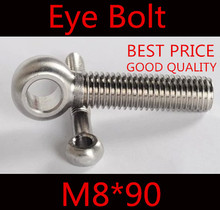 10pcs m8*90 M8 x 90 stainless steel eye bolt screw,eye nuts and bolts fasterner hardware,stud articulated anchor bolt(China)