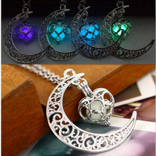 Noctilucence Necklace women moon love heart night jewelry Glow in the Dark Pendant with 48cm chain blue green purple necklace