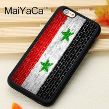 MaiYaCa Syria Flag On Brick Wall For iPhone 6 6S Coque 360 Full Protection Soft TPU Back Cover For iPhone 6/6s Phone Cases