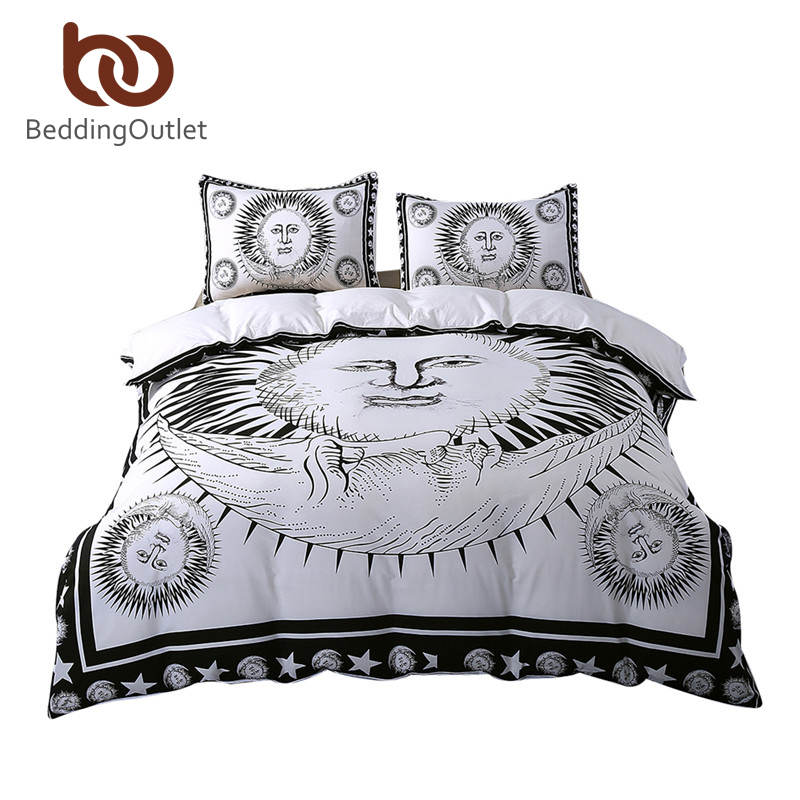 BeddingOutlet Sun God Bedding Set Moon Black and White Bed Cover Drop Ship Cozy Twin Full Queen King Duvet Cover Set Qualified(China (Mainland))