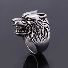 Wild Wolf Head Men Rings With Sharp Teeth Vintage Large Animal Male Ring Fashion Finger Accessories Anel Masculino(China)