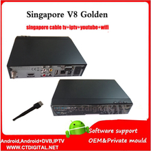 V8 golden dvb-c for Singapore sta**hub hd receiver free watch football games in stock 2PCS/LOT