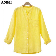 S M XL 4XL 5XL Autumn Summer Tops Full Sleeve Yellow Office Women Tops Blouse with Pocket Linen Fashion Casual Blusas Body Shirt