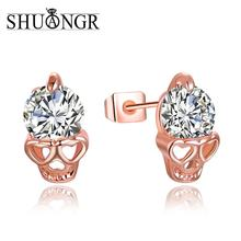 Free Shipping! Charming 2pcs=1pair gold Color 100% Cubic Zirconia CZ Brilliant Skull Heads Woman's Stud Earring Piercing(China)