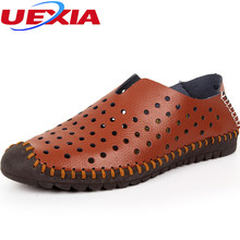 Hole Driving Flat Men Shoes Hollow Casual Leather Flats Handmade Breathable Soft Comfortable Hand Made Mocassin Designer Hombre(China)