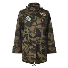 New Autumn Camouflage Loose Coat Patch Designs Applique Long Restore Hooded Loose Coats Camo Army Green Jackets Overcoat