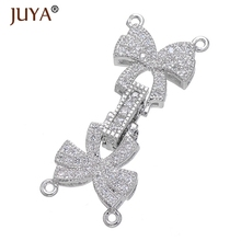 Luxury CZ Rhinestone Double Bowknot Clasps Connectors Fit For Hand Made DIY Multi-Strand Pearls Necklace Bracelet Accessories(China)