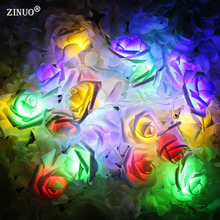 ZINUO 2M 20pcs Rose Battery LED String Light Rose Fairy String  For Christmas Xmas Party Wedding Decoration Holiday outdoor