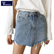 Buy Vangull Summer Jeans Skirt Women High Waist Jupe Irregular Edges Denim Skirts Female Mini Saia Washed Faldas Casual Pencil Skirt for $9.99 in AliExpress store