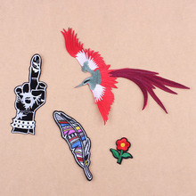 Finger Feather Patch Stripe For Clothing Big Bird Patches Embroidered Flower Sewing Iron On Patches Applique Logo Applique DIYD1