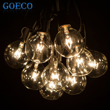 50Ft Globe String Lights G50 50 Clear Globe Bulbs 220/110V Black Wire, UL Listed, Indoor/ Outdoor Patio String Light, Extendable