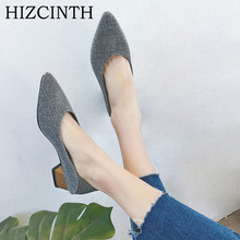 Buy HIZCINTH 2018 Spring Women's Shoes Square Heels Single Shoes Shallow Mouth Pointed Toe Black Sequined Bling Pumps Ladies Shoe for $23.75 in AliExpress store